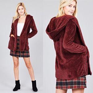 NEW S,M,L Faux Fur Hoodie Jacket w/Pockets